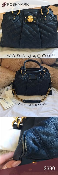 "Marc Jacobs Altima handbag Navy blue calfskin quilted handbag. Has been used with some wear and tear on corners. Has dust bag and all authenticity cars with envision and original tags. Versatile handbag with great inside pockets. Dimensions: L:15"" H:10"" Depth:6"" Drop:7"" Marc Jacobs Bags Shoulder Bags"