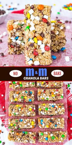 No Bake M No Bake Granola Bars, Muesli Bars, Homemade Granola Bars, Homemade Snickers, Easy No Bake Desserts, No Bake Treats, Easy Desserts, Yummy Healthy Snacks, Easy Snacks