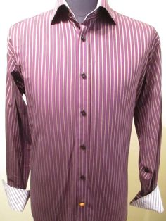 Thomas Dean Mens Dark Purple Striped Shirt Long Sleeve Size L Large Flip Cuff #ThomasDean