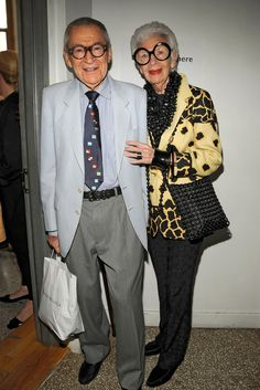 Carl and Iris Apfel in 2008, Carl died at age 100 in August 2015. He ran Old World Weavers, a company that sourced and produced fabrics, with his wife.