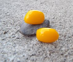 Yellow Fused Glass Stud Earrings/Glass by FancyThatFusion on Etsy