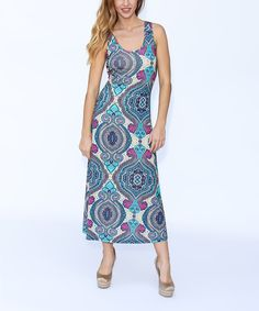 Loving this Blue Geometric Maxi Dress - Plus Too on #zulily! #zulilyfinds