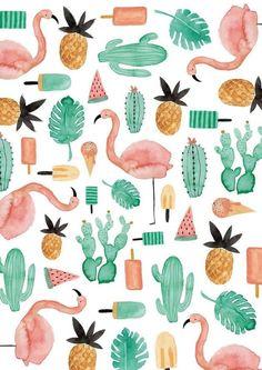 background, backround, cacti, cactus, design, flamingo, pattern, pineapple, summer, beach