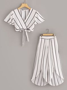 To find out about the Surplice Neck Stripe Top & Split Wide Leg Pants Set at SHEIN, part of our latest Two-piece Outfits ready to shop online today! Dresses Kids Girl, Cute Girl Outfits, Cute Casual Outfits, Stylish Outfits, Stylish Dresses, Girls Fashion Clothes, Teen Fashion Outfits, Kids Fashion, Fashion Dresses