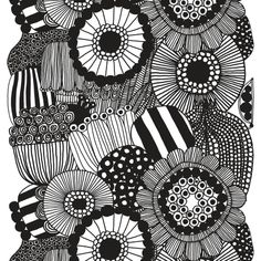Siirtolapuutarha fabric from Marimekko by Maija Louekari Marimekko Wallpaper, Marimekko Fabric, Black And White Wallpaper, Black And White Fabric, Textile Design, Fabric Design, Pattern Design, Papier Paint, Pop Art