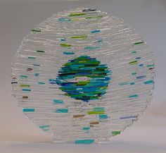 Stunning Abstract Fused Glass Art Earth Bowl