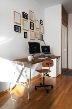 This IKEA hack could be perfect for my new desk in the library - much less imposing than the current one.  Rob Cerrato Ikea Desk