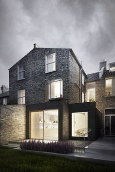 A Kensington house extension, very moody. House Extension Design, Extension Designs, Roof Extension, House Design, Extension Ideas, Extension Google, Architecture Visualization, Urban Architecture, Victorian Terrace