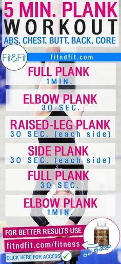 5 Min. Plank Workout for Abs, Chest, Butt, Back, & Core.  #fitness #bodybuilding #workout #gym #weightloss #fatloss #diet #loseweightfast #love #new #pinterest #london #newyork #uk #newyork #losangeles