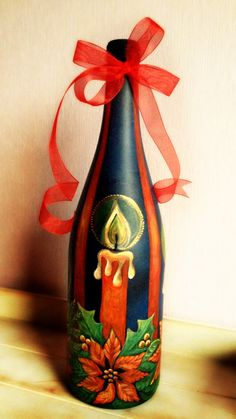 Christmas gifts (decorated bottle of wine) Hand-painted (acrylic paint)