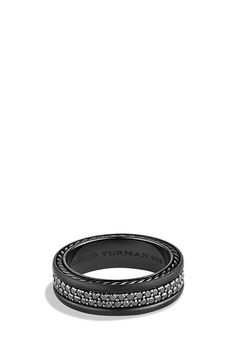 Bands for him - David Yurman 'Streamline' Two-Row Band Ring with Gems & Black Titanium available at #Nordstrom