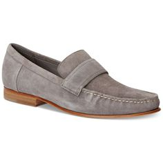 Calvin Klein Men's Baron Suede Loafers ($98) ❤ liked on Polyvore featuring men's fashion, men's shoes, men's loafers, toffee, suede tassel loafers mens shoes, mens moccasins shoes, mens loafer shoes and mens suede shoes
