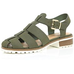 River Island Khaki cleated sole sling back sandals ($70) ❤ liked on Polyvore featuring shoes, sandals, flat sandals, khaki, shoes / boots, women, strap shoes, chunky shoes, strap sandals and sling back shoes