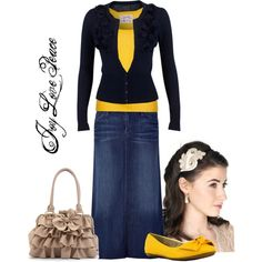 """""""Sunny Day"""" by audge999 on Polyvore with regular jeans instead of a long skirt"""