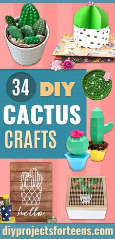 cactus craft Love cacti and succulents? So do I, but lately Ive really fallen in love with a new trend, cactus crafts. For fun decor and DIY gifts, it does not get much better than these Decoration Cactus, Cactus Craft, Cactus Gifts, Diy Living Room Decor, Diy Bedroom Decor, Diy Home Decor, Decor Crafts, Teen Bedroom, Mini Cactus