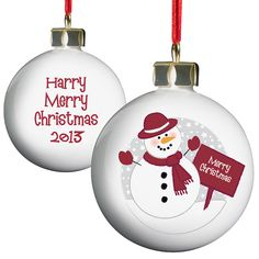 Personalised Snowman Christmas Bauble