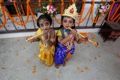 Children dressed up as Krishna in Agartala, Tripura.