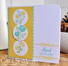 Papertrey Ink birthday card using Bitty Bouquets. Love the fresh lemon and pale blue colourway. By Inkyfingered Carol