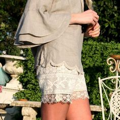 0f24e6dd809f Linen and lace shorts with semi-transparent hem. Handmade in glamorous  Positano. Worn with Blitz Moda - Positano Couture shirt and necklace.