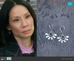 Joan's earrings on Elementary.  Outfit Details: https://wornontv.net/67686/ #Elementary