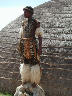 zulu tribal costume. kwazulu natal province. south africa