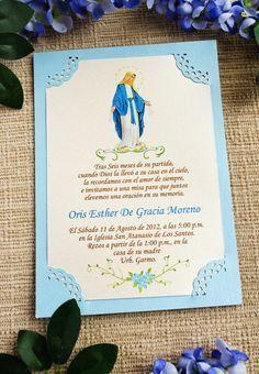 Invitaciones a Misas diseñadas con temas religioso y hermosos mensajes. Son personalizadas con el color y tema de su preferencia.