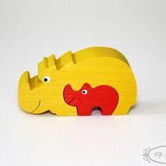 Puzzle en bois, deux petits rhinoceros, animal, jouet enfant