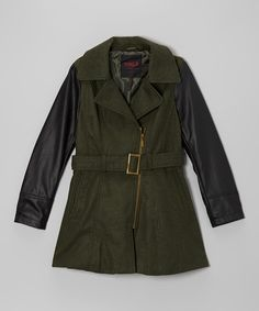 Take a look at this Olive Contrast Sleeve Jacket - Girls on zulily today!