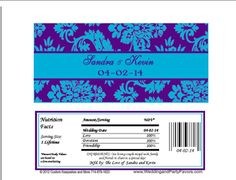 Purple & Turquoise Damask Wedding Candy Bar Wrapper Wed 642 WP Candy Bar Wedding, Damask Wedding, Candy Bar Wrappers, Special Day, Turquoise, Purple, Sweet Tables, Peacock, Appetizers
