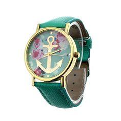 DDLBiz® Damenmode Leder mit Blumenmuster Anchor Quarz-Kleid-Armbanduhr (Mint Green) - http://uhr.haus/ddlbiz/mint-green-ddlbiz-damenmode-leder-mit-anchor