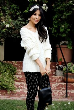 Jenny Wu from Good, Bad & Fab featured in our Fall 2012 cable knit sweater & zig-zag pant on @Saks Fifth Avenue POV