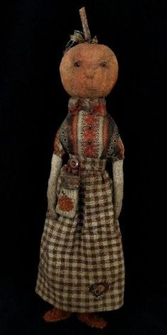 primitive pumpkin rag doll by of cloth and hand