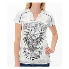 Affliction Kratos T-Shirt ($43) ❤ liked on Polyvore featuring tops, t-shirts, white graphic tees, graphic design t shirts, graphic print t shirts, graphic tees and white top