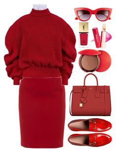 """Lady in Red"" by mish-01 ❤ liked on Polyvore featuring Paule Ka, Gucci, A.W.A.K.E., Yves Saint Laurent, Guerlain and Perverse"