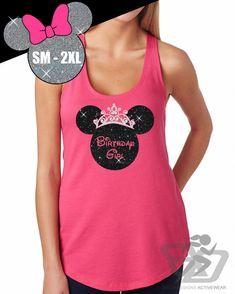 GLITTER Disney Birthday Girl Crown Minnie Terry Tank -- Disneyland Shirt // Disney Cinderella Castle Disney Clothing (6933 hot pink)