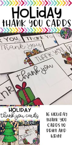 FREE Holiday Thank you Cards to easily print and store in your desk to write thank yous for all the thoughtful gifts you receive from your students during the holidays. Blank cards allow you to personalize each card to fit your needs. Click the picture to read more.
