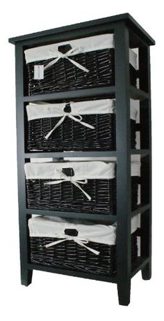 Bentley home wooden storage unit with wicker baskets and - Bathroom storage cabinet with baskets ...