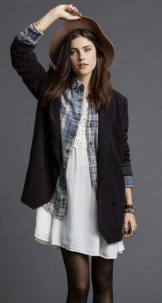 retro looks - 80's oversize blazer - 90's Grunge makeover Silence + Noise Double-Breasted Oversized Blazer