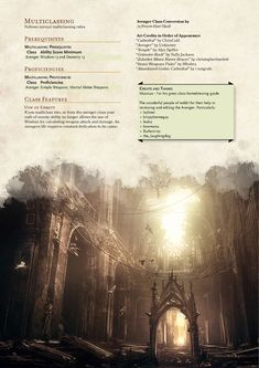 Homebrewing class DnD Homebrew Avenger Class by Fenrir-Hati-Skoll Shadar Kai, Dungeons And Dragons Classes, Dnd Races, Dnd Classes, Grimoire Book, Dnd 5e Homebrew, Gothic Cathedral, Dragon Rpg, Game Resources