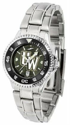 Wyoming Cowboys UW NCAA Womens Steel Anochrome Watch by SunTime. $86.95. Showcase the hottest design in watches today! The functional rotating bezel is color-coordinated to compliment your favorite team logo. The Competitor Steel utilizes an attractive and secure stainless steel band.The AnoChrome dial option increases the visual impact of any watch with a stunning radial reflection similar to that of the underside of a CD. Perceived value is increased with the AnoChrom...