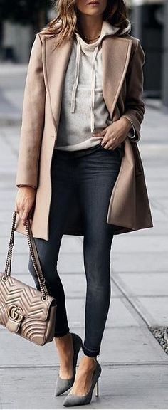 #winter #outfits brown coat and black leggings outfit