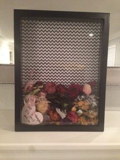 I saved one flower from every bouquet my boyfriend has given me. Decided to put them all in a shadow box instead of shoved somewhere in my closet