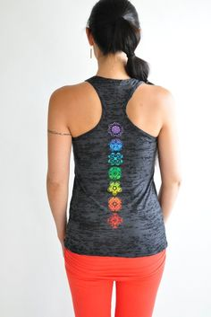 The Jala Clothing Chakra Racer Burnout Tank has a lovely display of the seven main chakras in bright colors. This yoga tank is pre-washed so you don't have to worry about shrinkage, the burnout style Yoga Tank Tops, Athletic Tank Tops, Black Yoga, Hot Yoga, Cute Outfits, Clothes For Women, My Style, Grey, Sports