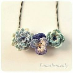 One-of-a-kind floral necklace by Lunarheavenly via Creema(ハンドメイド・ソーシャルマーケット)] #crochet #jewelry #crochetersanonymous