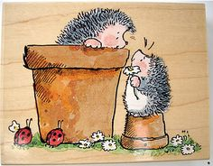 HEDGEHOG VISIT - PENNY BLACK STAMP