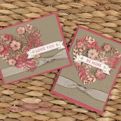 handmade Valentine cards ... soft neutrals an pink ... lacey die cut heart ... knotted ribbon wrap ... delightful! ... Stampin' Up!