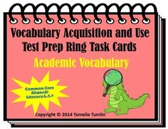 This test prep ring practice set is aligned to the Common Core State Standard L.4.6 and it includes 24 multiple choice Academic Vocabulary Cards. These cards include direction verbs for standardized test, science, social studies, math and ELA academic words all 3-5 graders need to know.