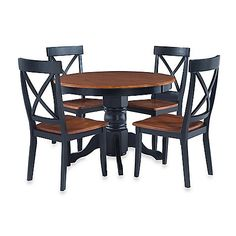 Home Styles Solid Wood 5 Piece Pedestal Table Dining Set