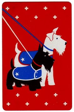Vintage Art Deco Scotties Playing Card, Scottish Terriers