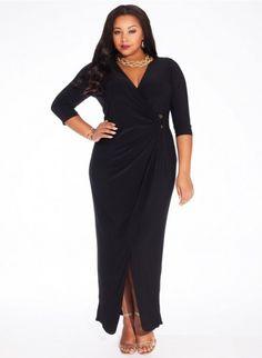 černé maxi šaty pro plnoštíhlé igigi